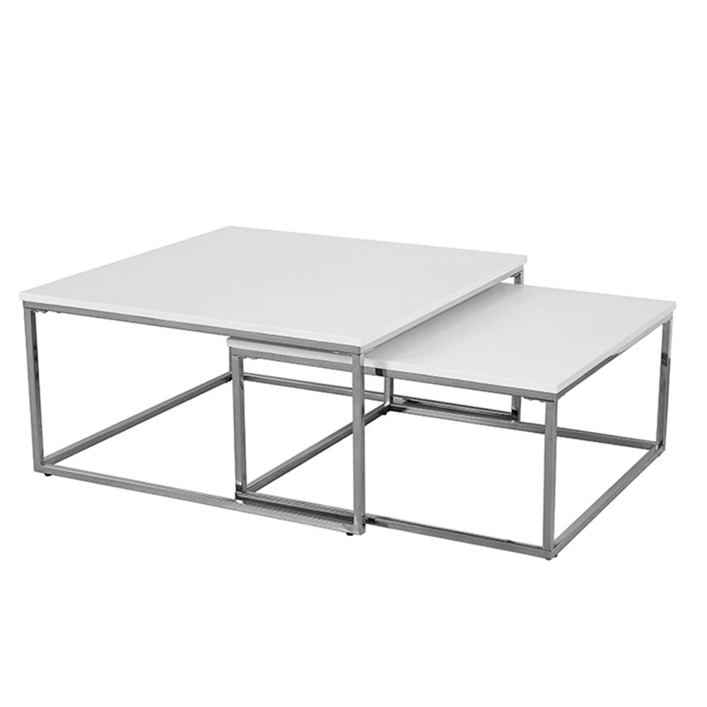 Dohányzóasztal, króm/fehér, ENISOL