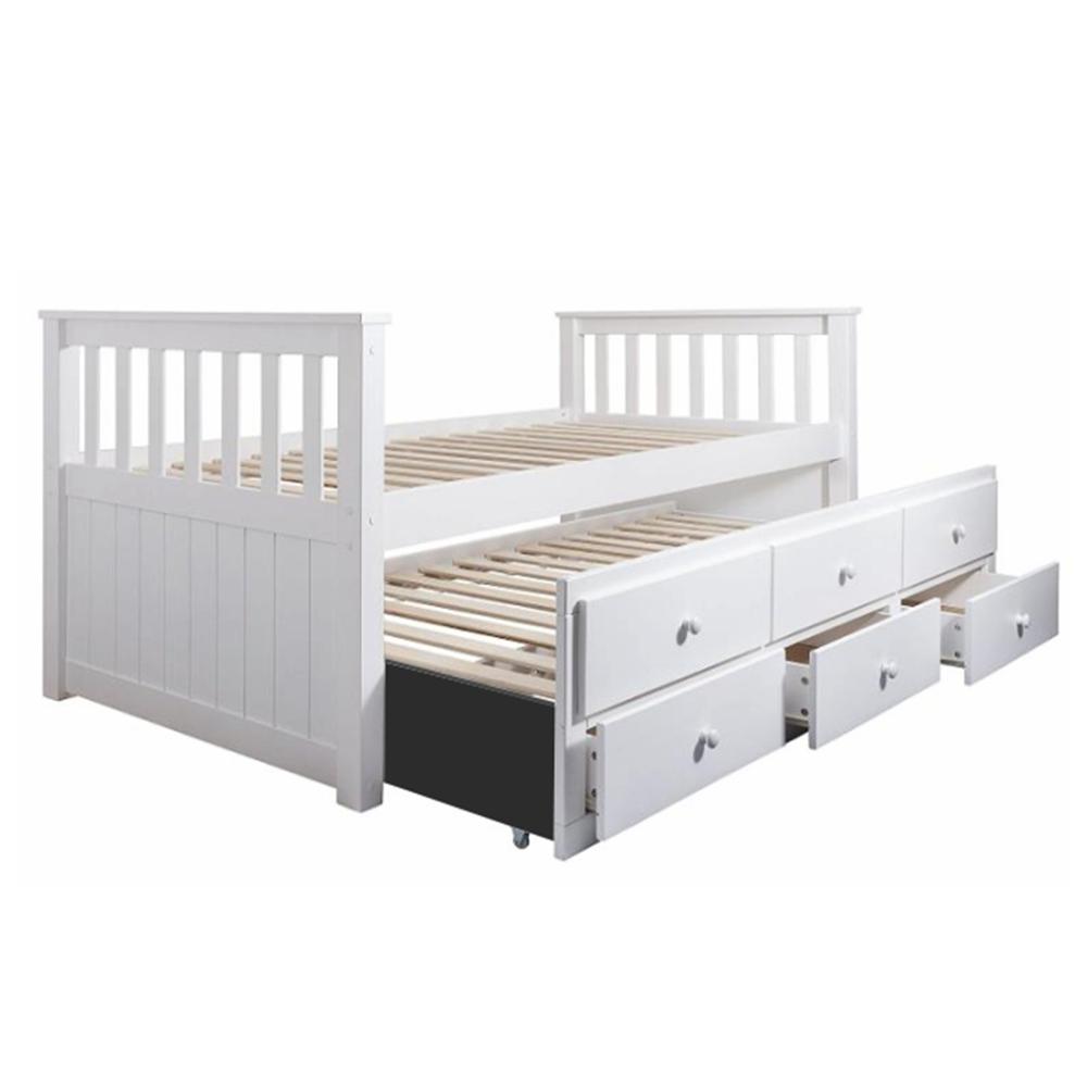 Pat dublu copii cu spaţiu de depozitare, lemn de pin/MDF, alb, AUSTIN NEW