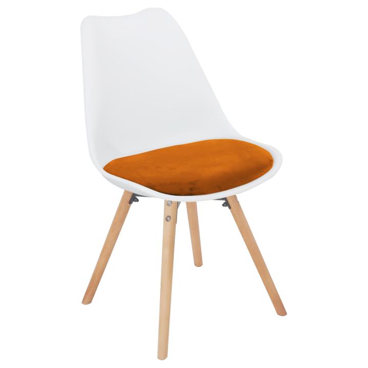 Stolička, terakotta zamatová látka/biely plast/buk, SEMER New