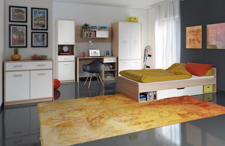 Sektorový nábytok Teyo biela/dub sonoma