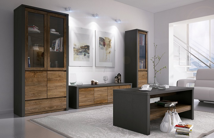 Sektorový nábytok Montana dub lefkas tmavý/smooth sivý