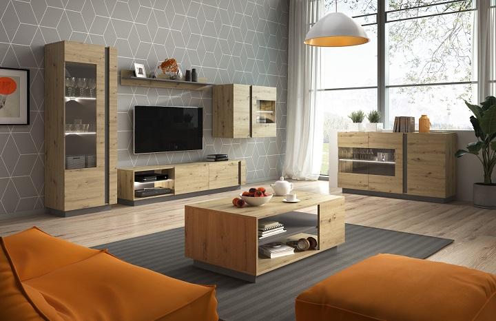 Sektorový nábytok do obývačky City dub artisan/sivý grafit