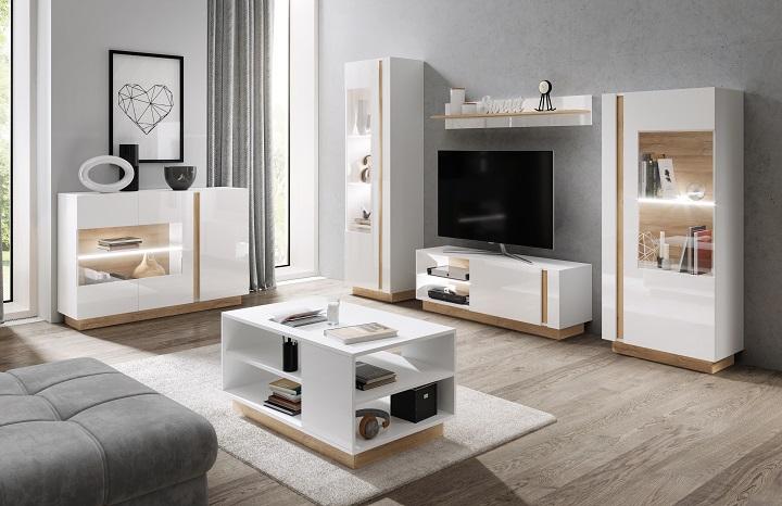 Sektorový nábytok do obývačky City biela/dub grandson/biely lesk