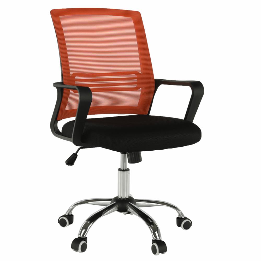 Scaun de birou, mesh portocaliu/material textil negru, APOLO