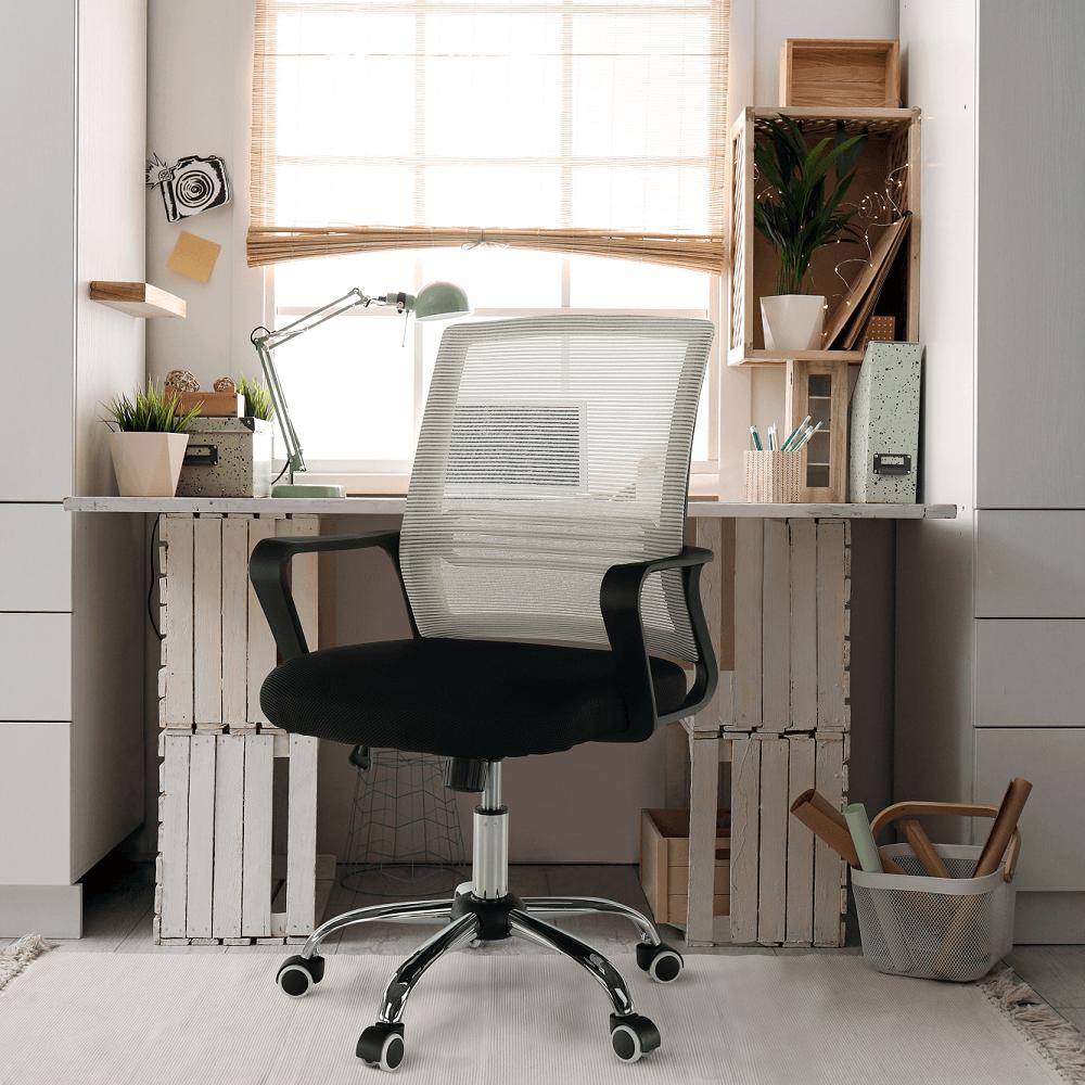 Scaun de birou, mesh gri-maro TAUPE/material textil negru, APOLO
