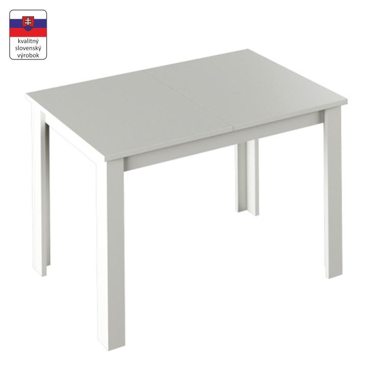 Jedálenský stôl, rozkladací, biela, LAURENCI, zložený