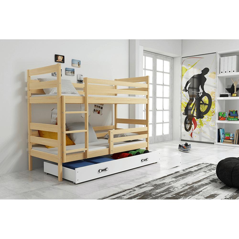 Emeletes ágy, fenyő/natúr, 80x190, ADELA 2 NEW