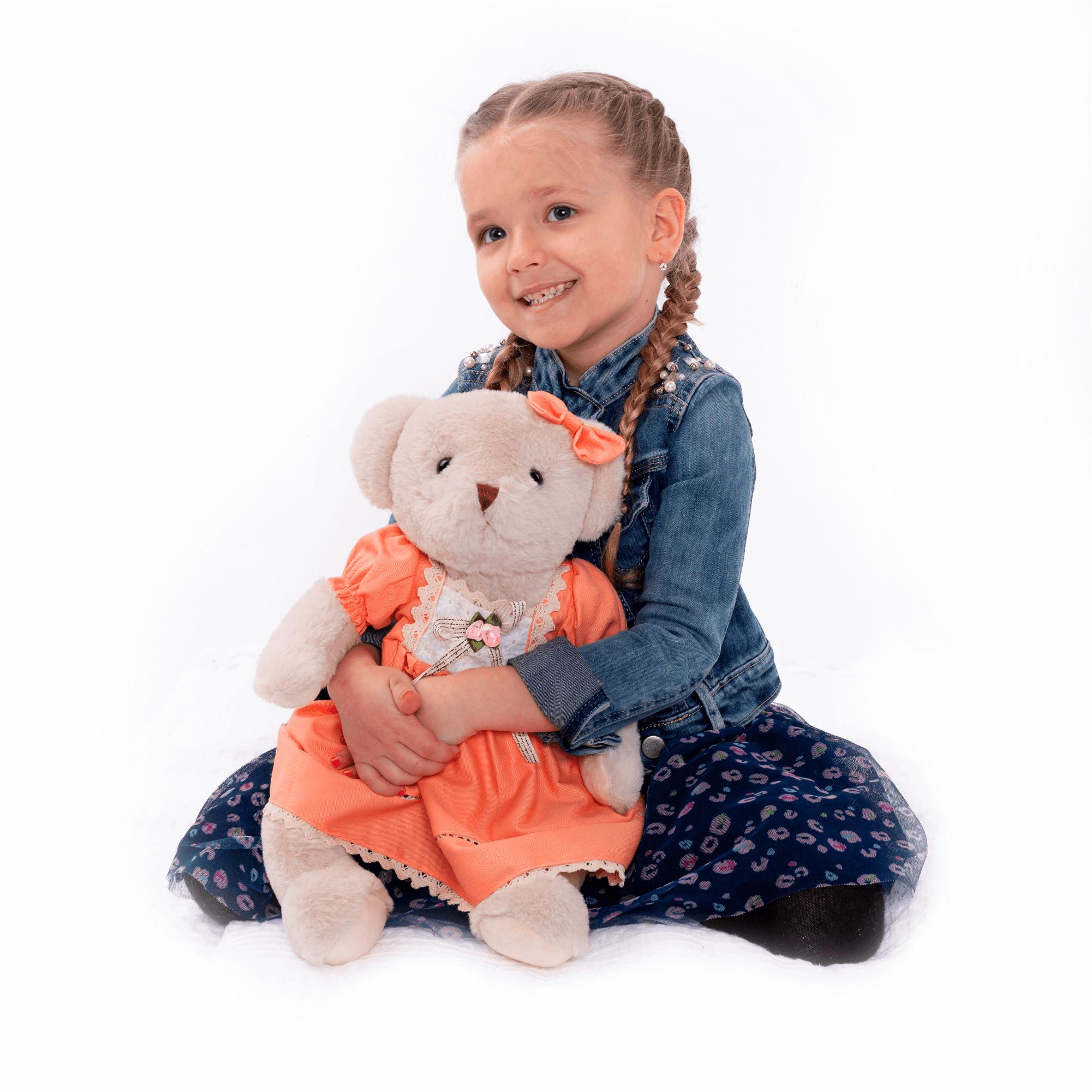 Plüss maci, krémszínű/narancssárga, 45cm, MADEN GIRL TYP1