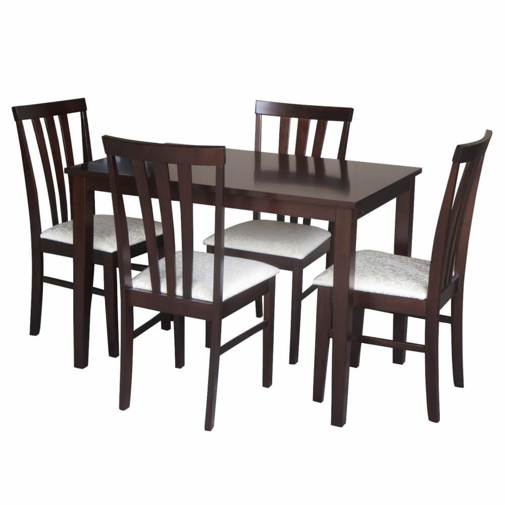 Set dining, wenge/material textil crem, LESLIE NEW 1+4