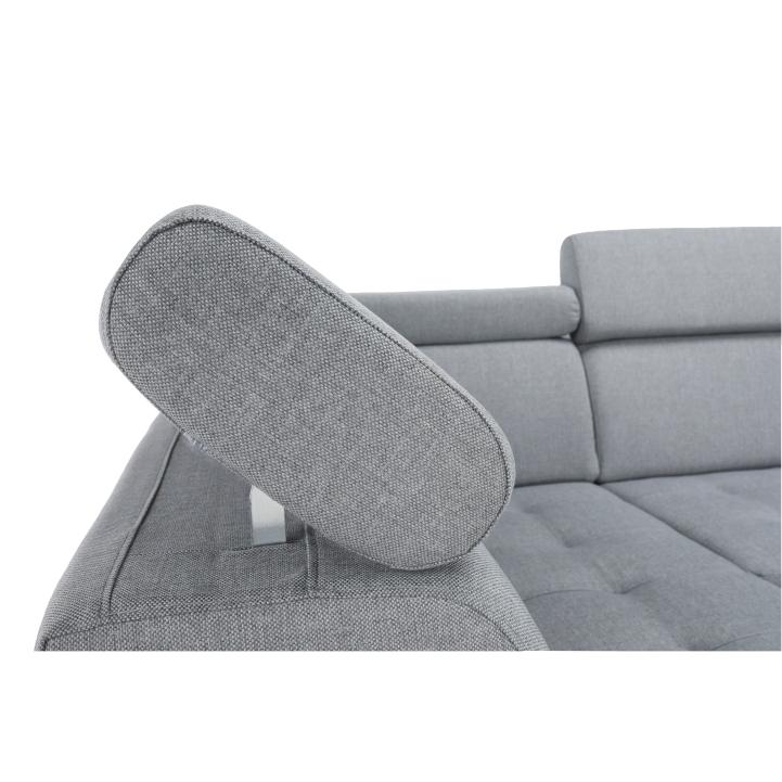Rozkladacia sedačka, čierna ekokoža/látka svetlosivá, pravá, VASTO, rozbalený tovar
