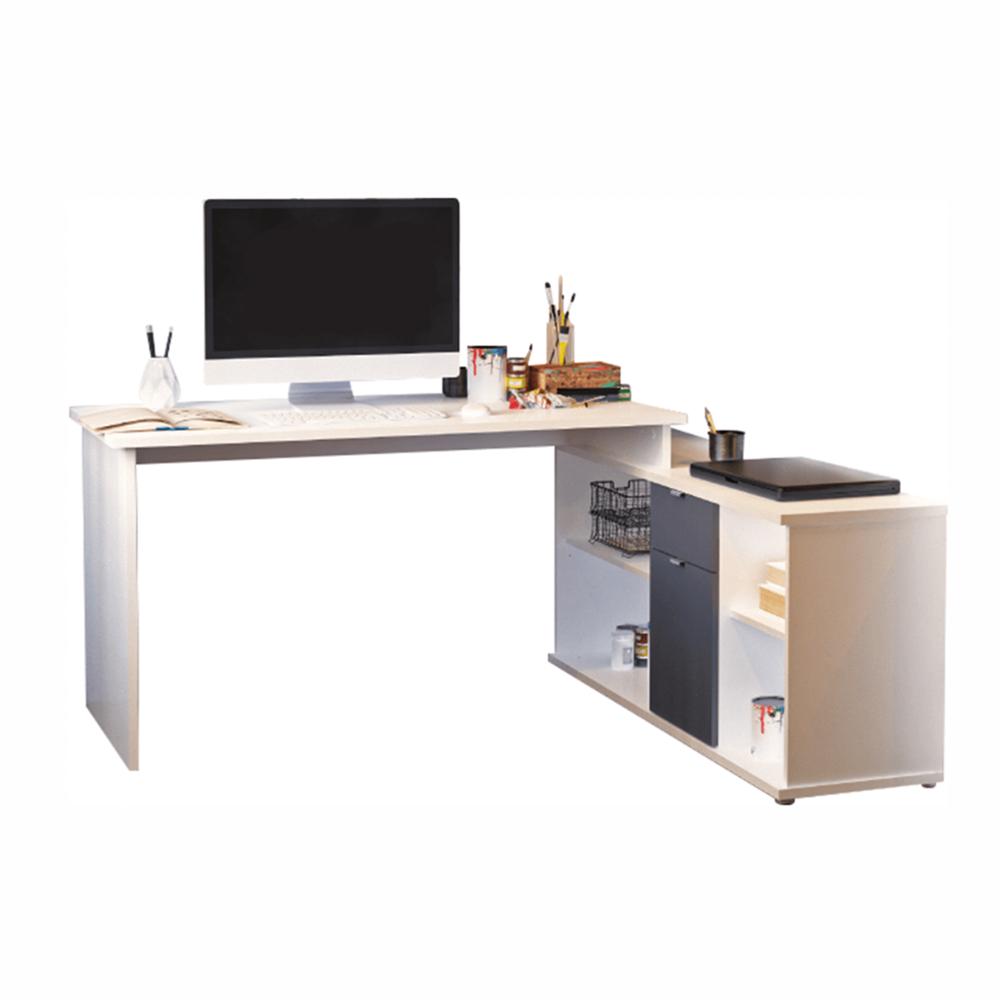 íróasztal, fehér/szürke, DALTON 2  NEW VE 02