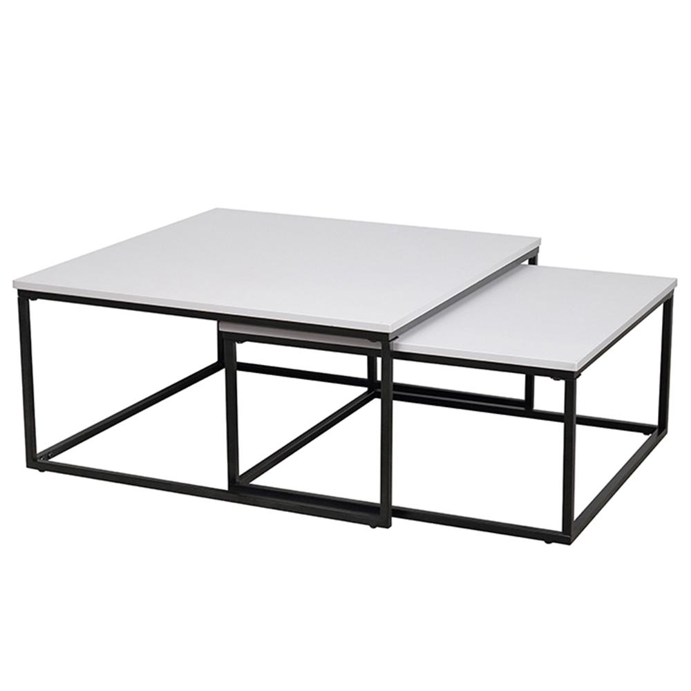 Két dohányzóasztal szett, fehér/fekete, KASTLER TYP 1