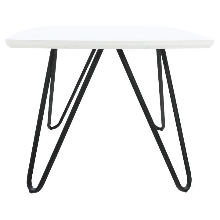Príručný stolík, biela vysoký lesk/čierna, KANER 1, pohľad z boku