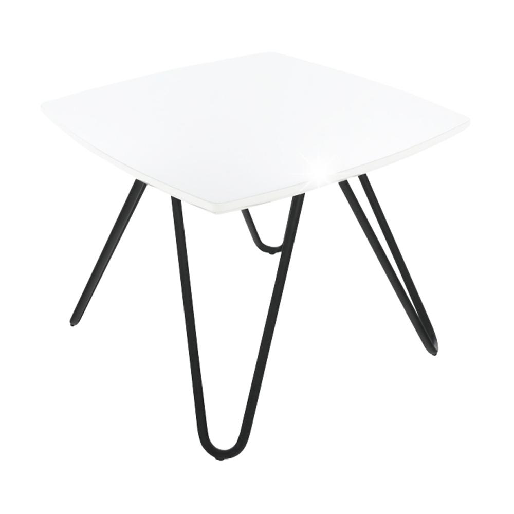 Scaun bucătărie, alb extra luciu ridicat/negru, KANER 1