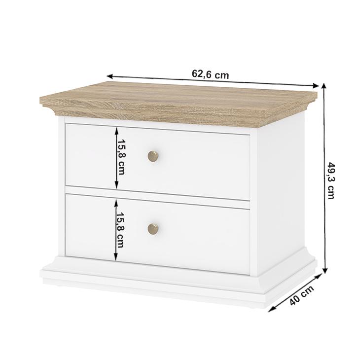 Nočný stolík, biela/ dub sonoma, PARIS 70301, s rozmermi