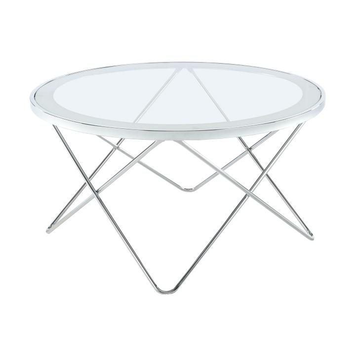 Konferenčný stolík, chróm/číre sklo, LEONEL, rozbalený tovar