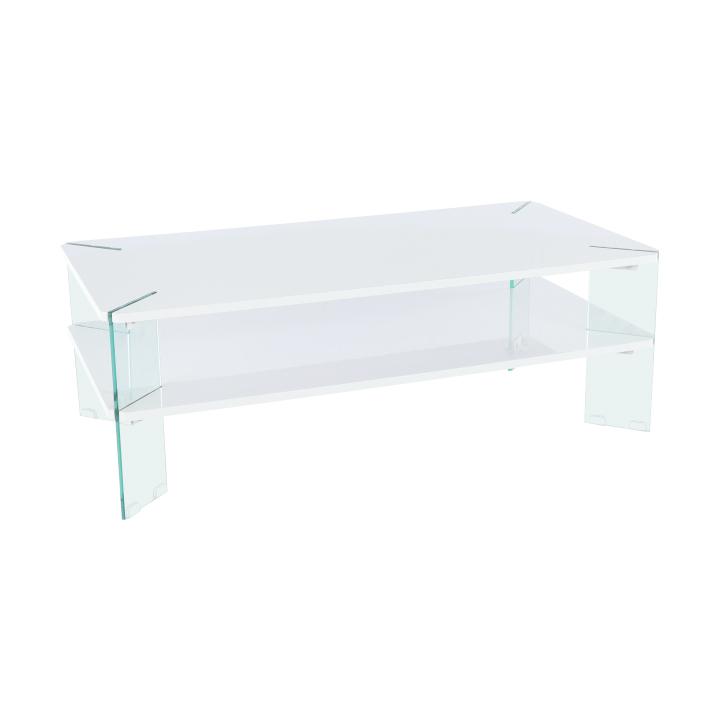 Konferenčný stolik, biela HG s leskom/biela, MABILO, rozbalený tovar