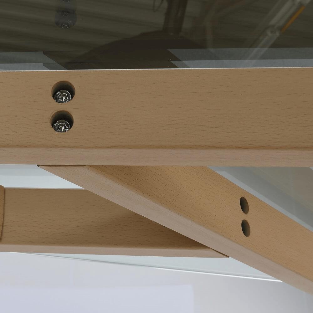 Konferenčný stolík, sklo/kov s úpravou buk, PEDREK TYP 1, poškodený tovar