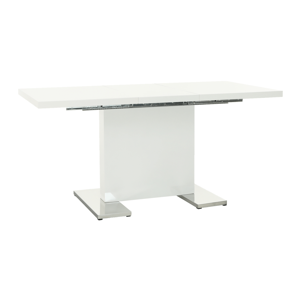 Szétnyitható étkezőasztal, fehér magasfényű HG, IRAKOL