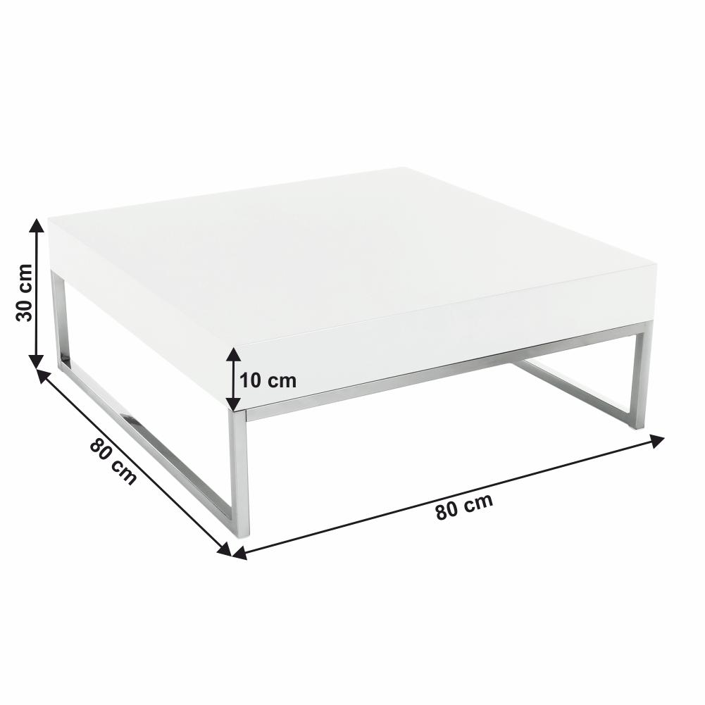 Konferenčný stolík, chróm/biela extra vysoký lesk HG, BOTTI, poškodený tovar