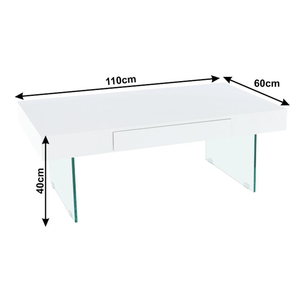 Konferenčný stolík, biely extra vysoký lesk, DAISY 2 NEW, poškodený tovar