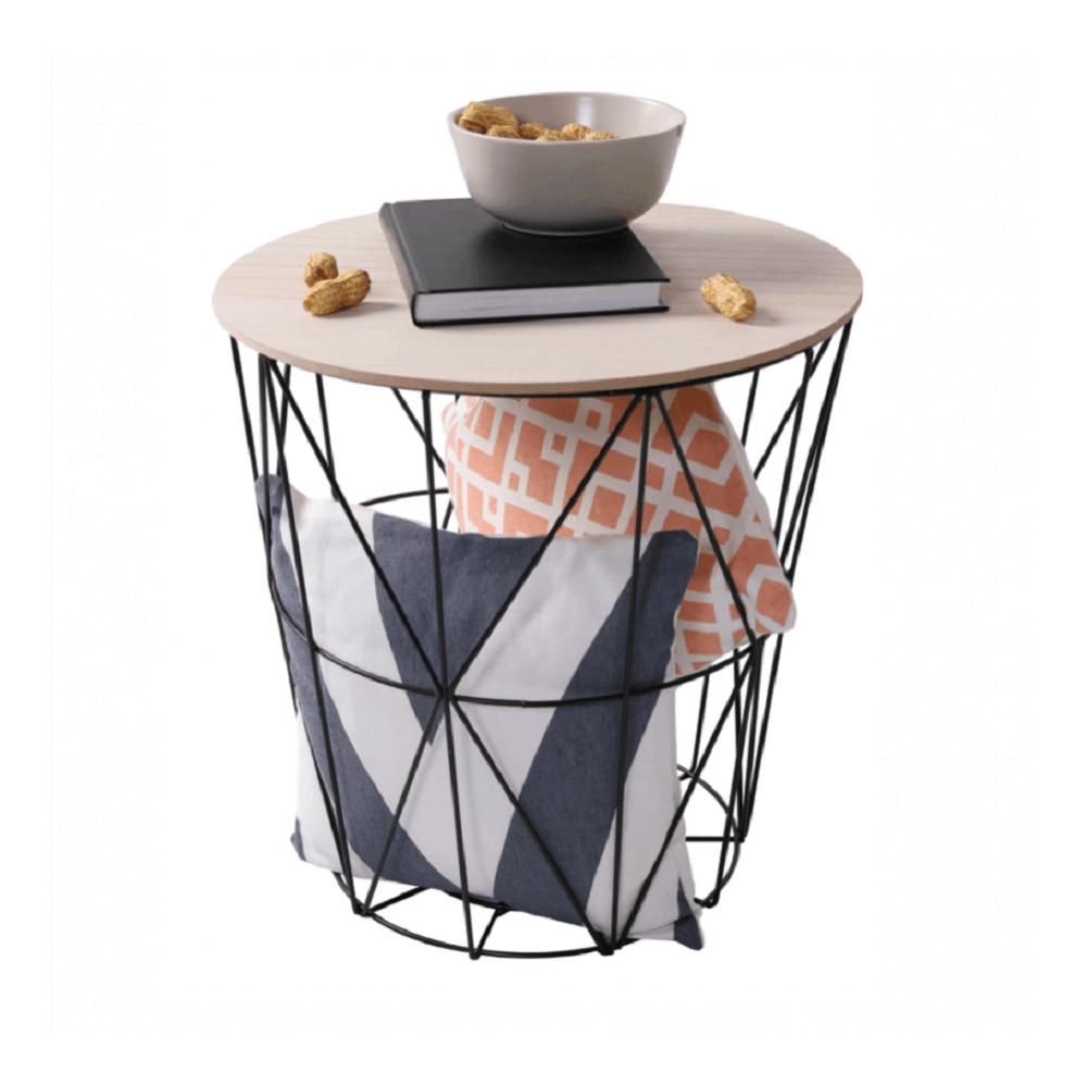 kisasztal, természetes/fekete, NANCER TYP 2