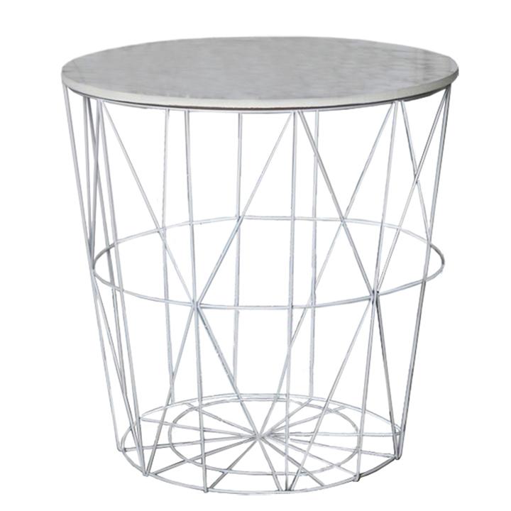 Príručný stolík, mramor/biela, ENPLO