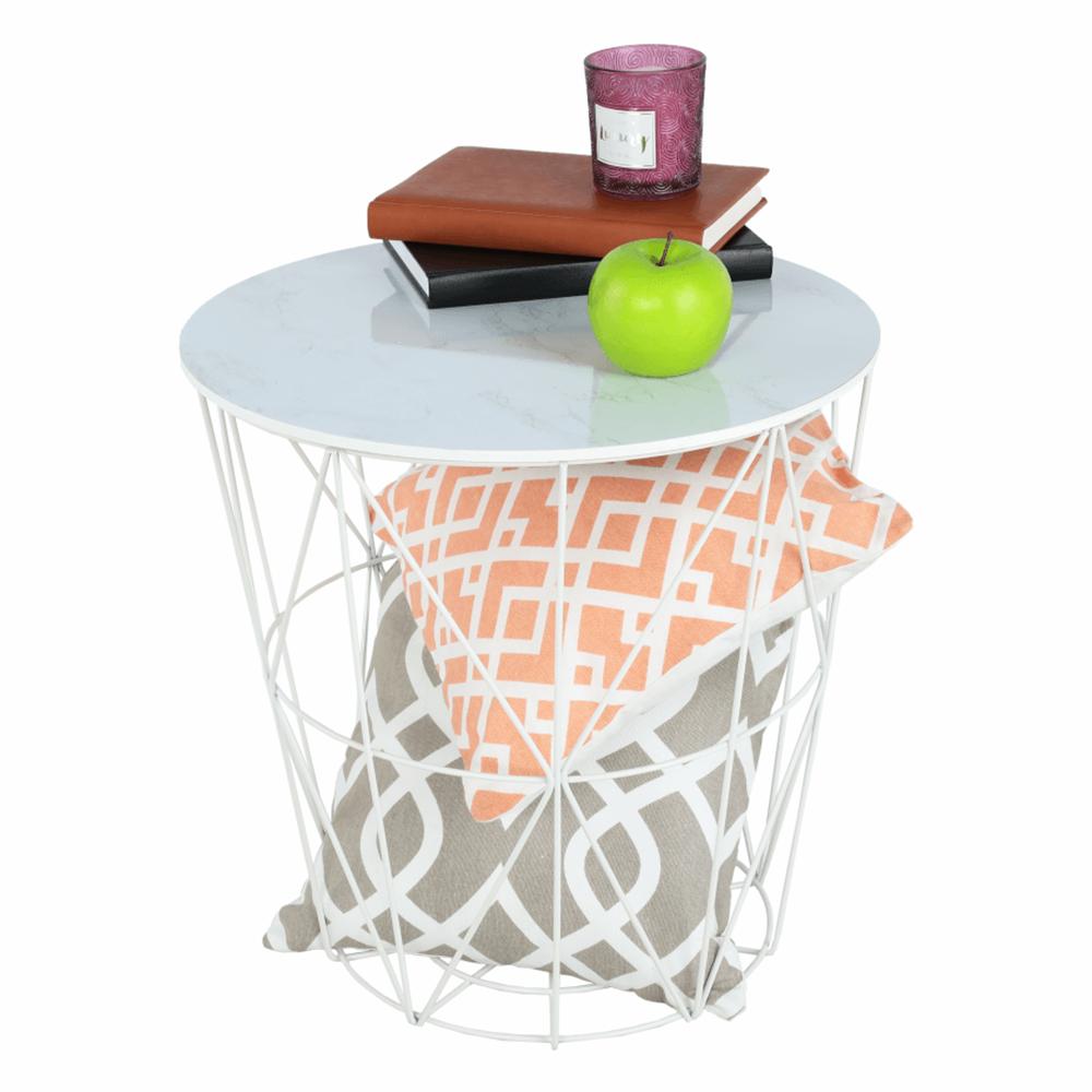 kisasztal, márvány/fehér, ENPLO