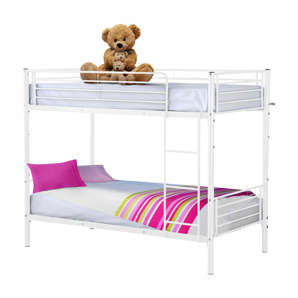 Fém emeletes kinyitható ágy, fehér, 90x200, JAMILA