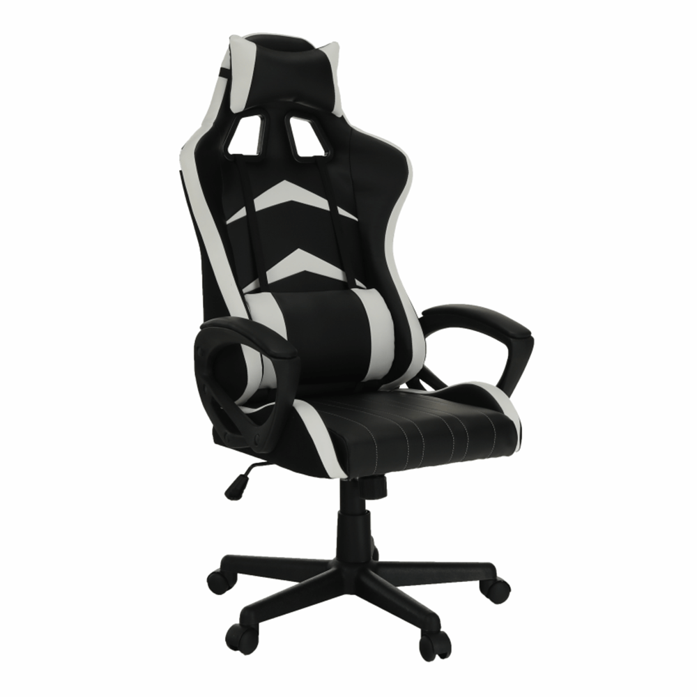 Kancelárske/herné kreslo, čierna/biela, KRISTOF