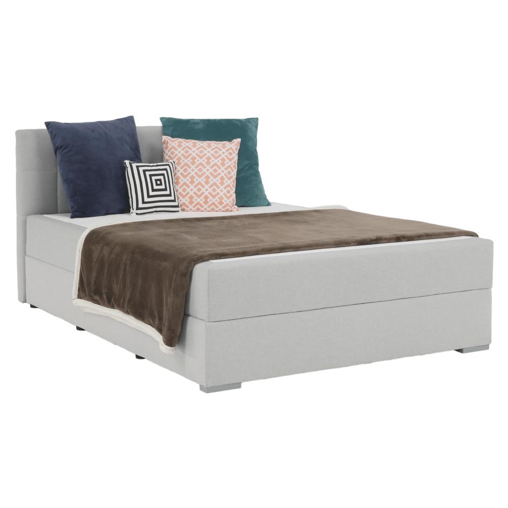 Boxspring típusú ágy 140x200, világosszürke, FERATA KOMFORT