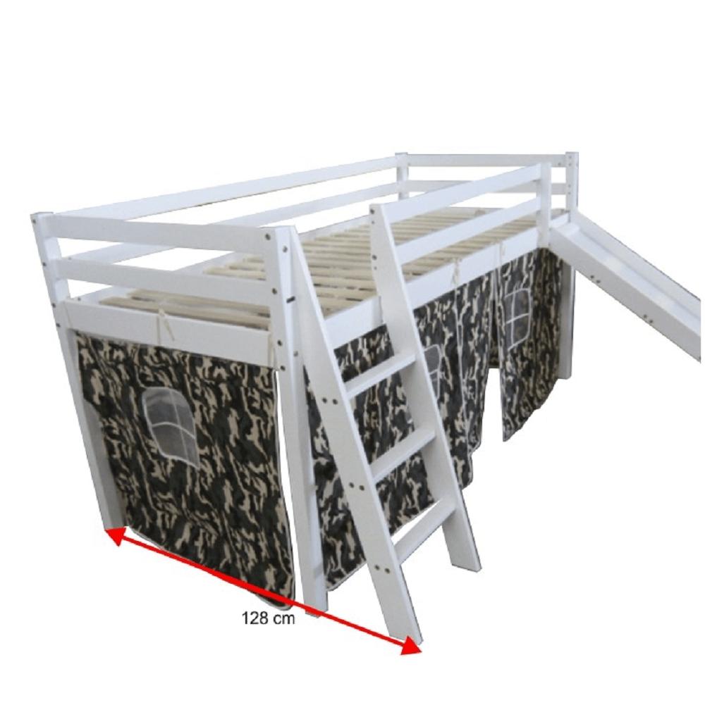 2 kusy, detská posteľ so šmykľavkou, borovicové drevo biela, VERDI