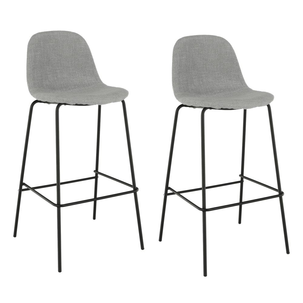 2 kusy, barová stolička, svetlosivá látka/kov, MARIOLA NEW