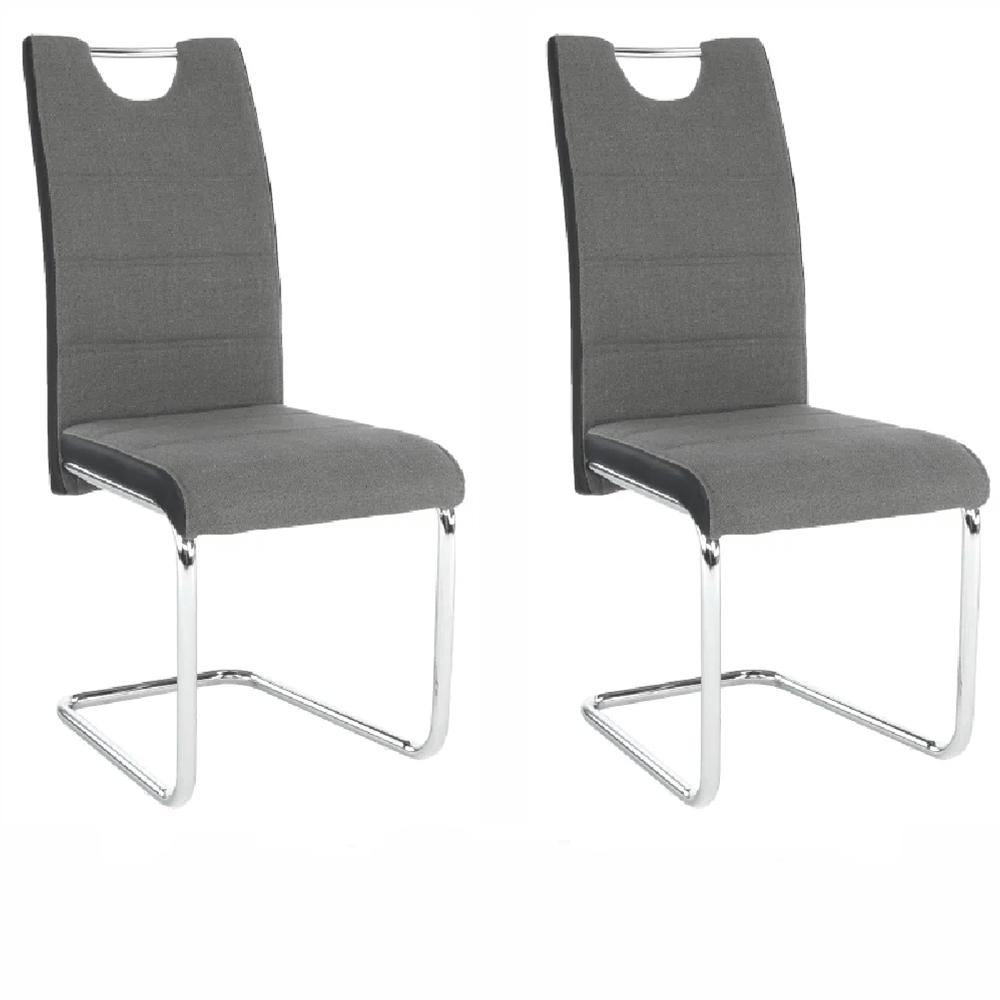 2 kusy, stolička, látka tmavosivá/ekokoža čierna/chróm, IZMA