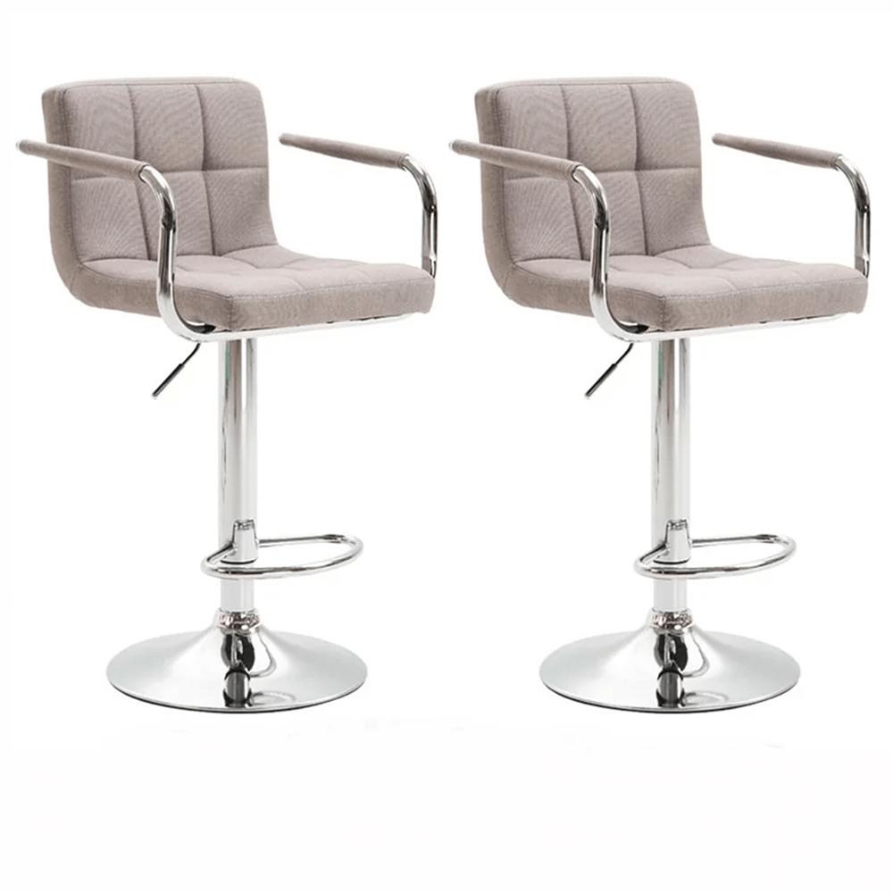Set 2 buc, scaun de bar, material textil gri-maro taupe/crom, LEORA 2 NEW
