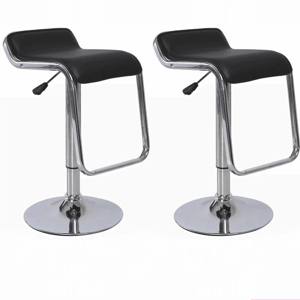 2 kusy, barová stolička, ekokoža čierna/chróm, ILANA