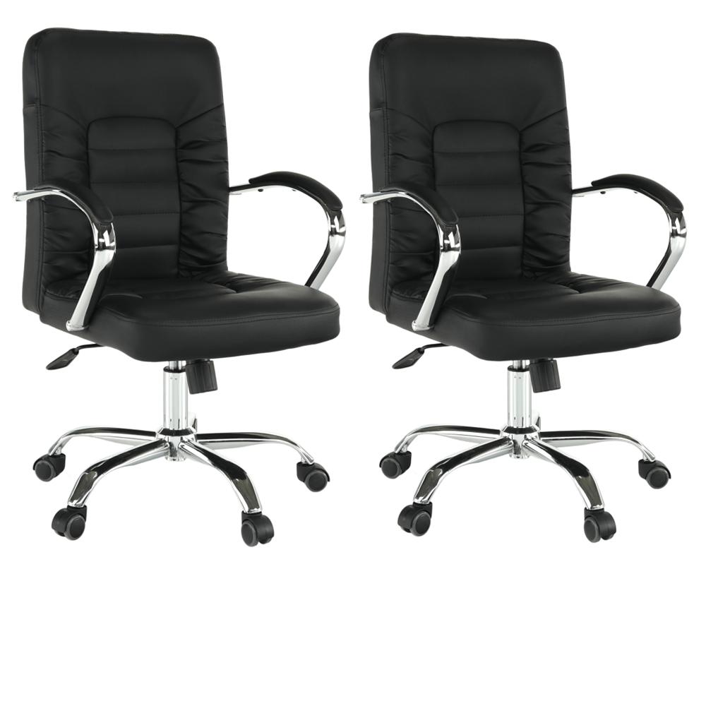 2 kusy, kancelárske kreslo, čierna/chróm, ALTAZ