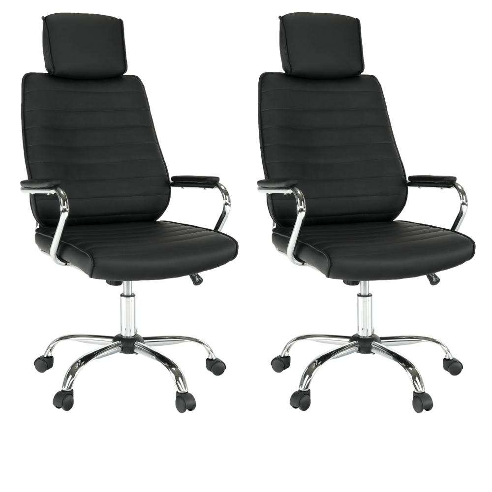 2 kusy, kancelárske kreslo, čierna ekokoža, IZIDOR NEW