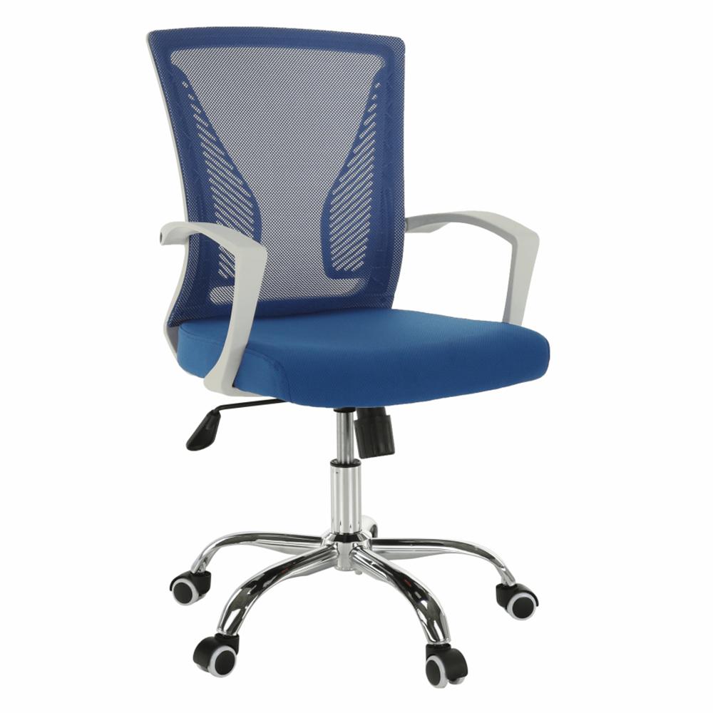 Fotoliu de birou, albastru/alb/crom, IZOLDA