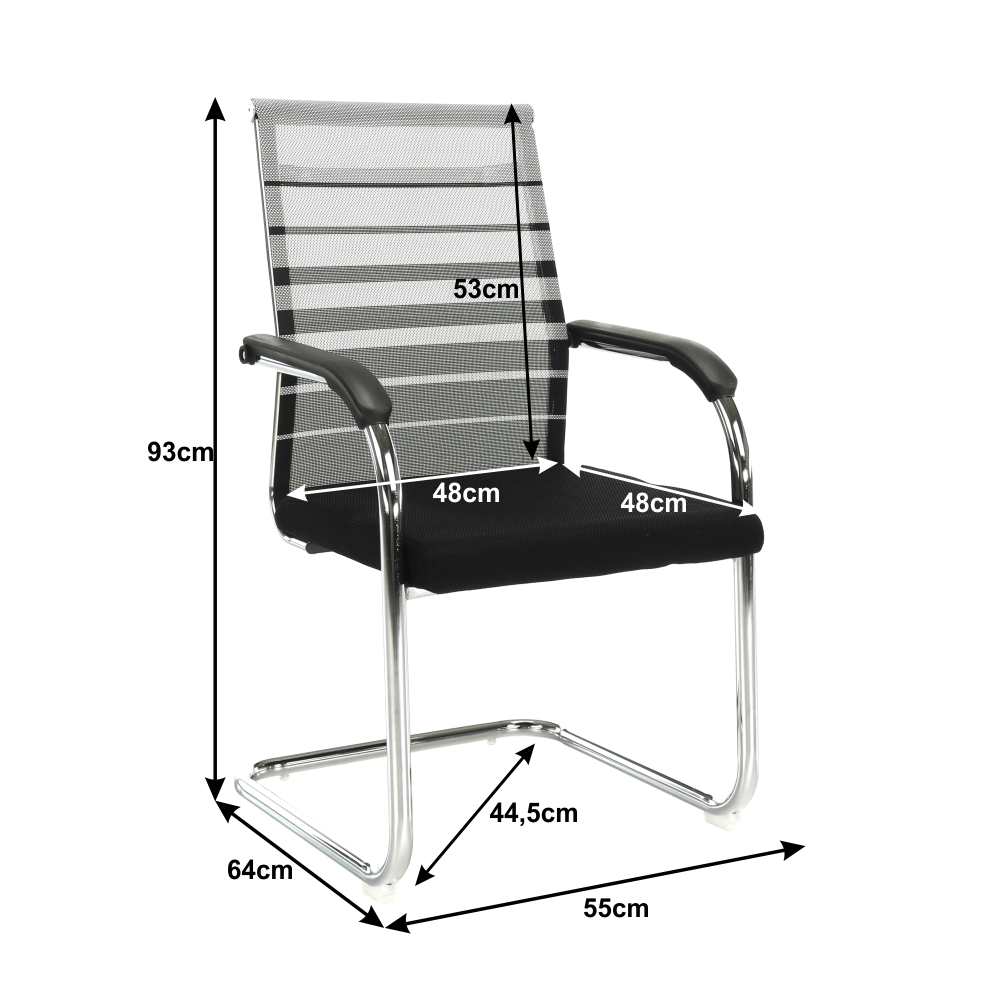 Scaun de şedinţă, gri/negru, ESIN