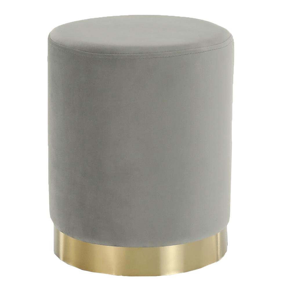 Puff, szürke Velvet anyag/gold króm-arany, ALAZ