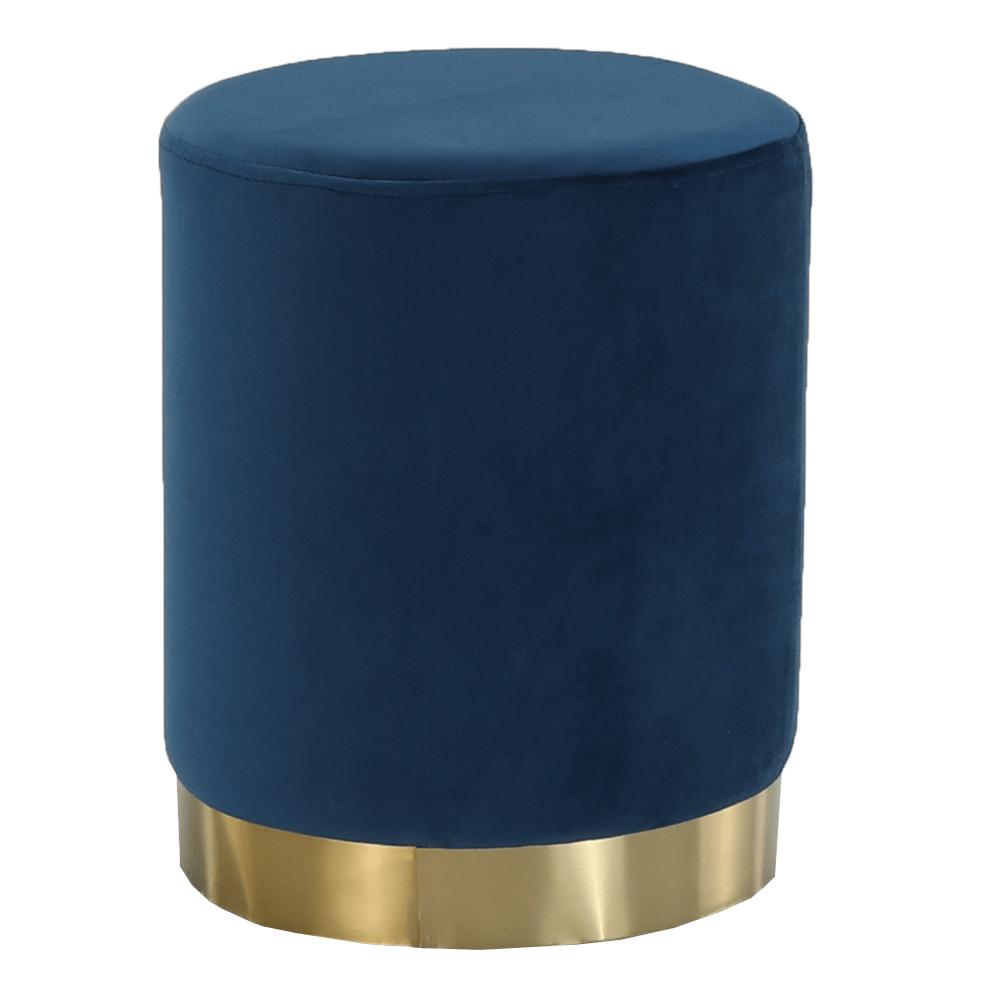 Taburet, catifea Velvet albastru/crom auriu, ALAZ