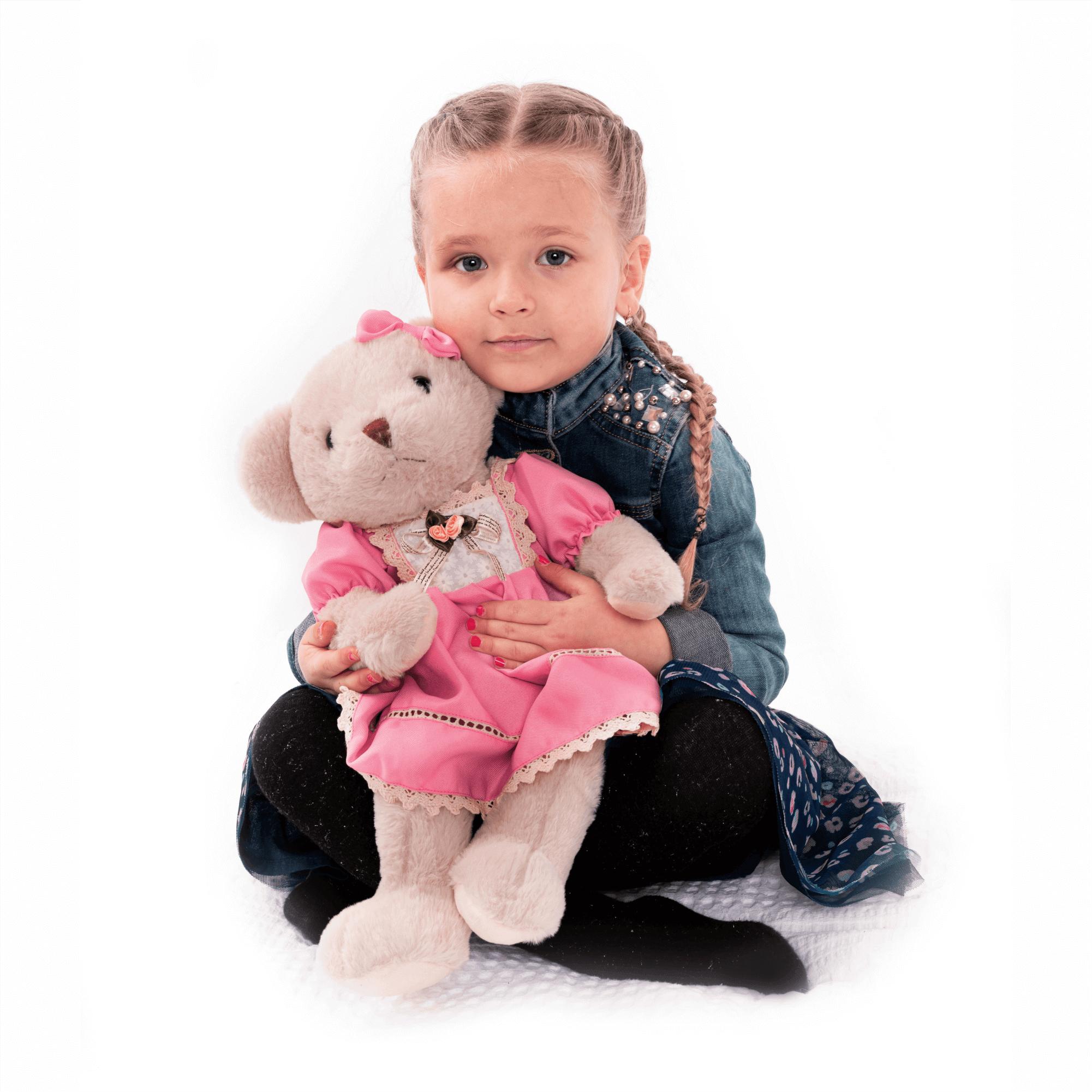 Plüss maci, krémszínű/rózsaszín, 45cm, MADEN GIRL TYP1