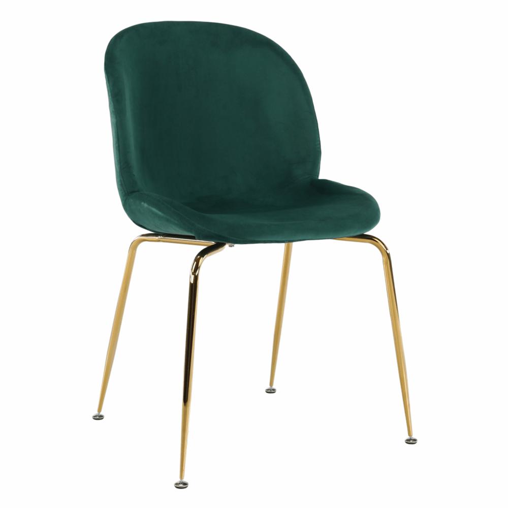 Scaun, material textil Velvet verde/gold crom-auriu, PORTIA