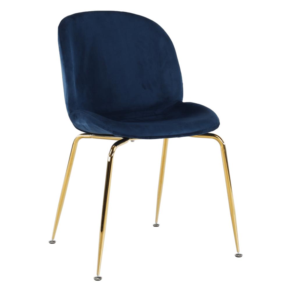 Szék, anyag Velvet kék/gold króm-arany, PORTIA