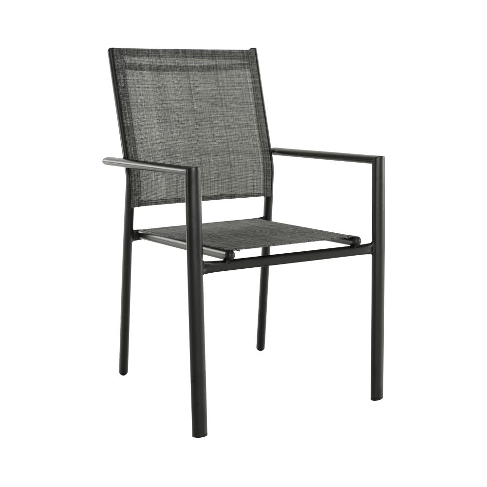 Kerti rakásolható szék, szürke/fekete, TELMA
