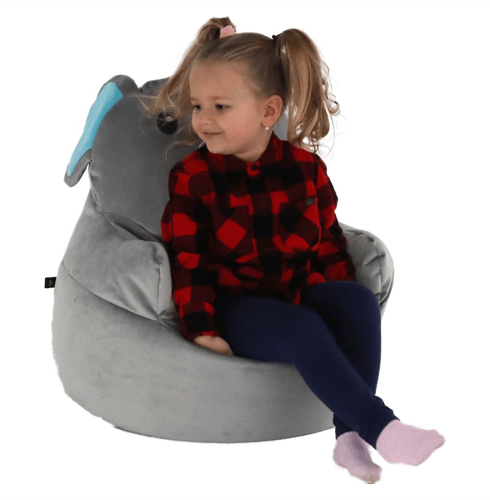 Fotoliu tip sac, material textil gri, BABY TIPUL 2