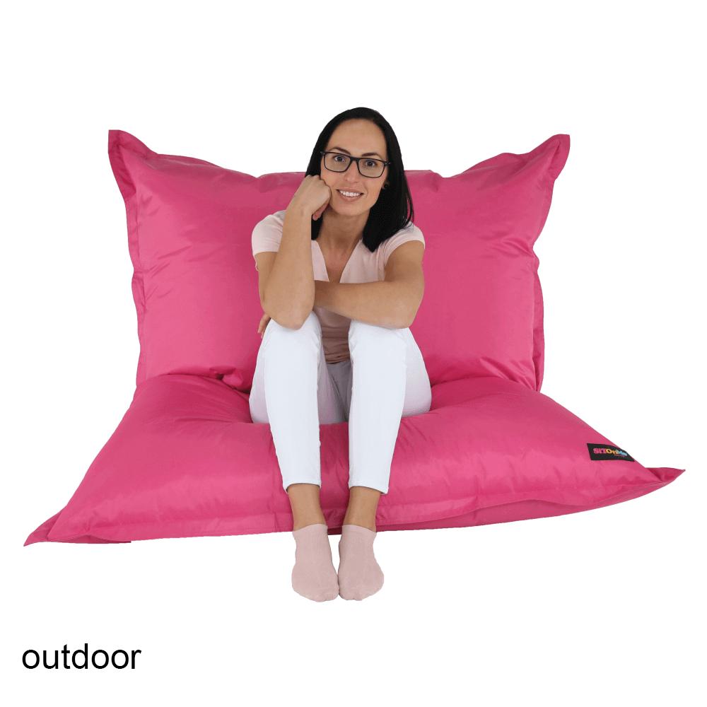 Fotoliu tip sac, material textil roz, GETAF