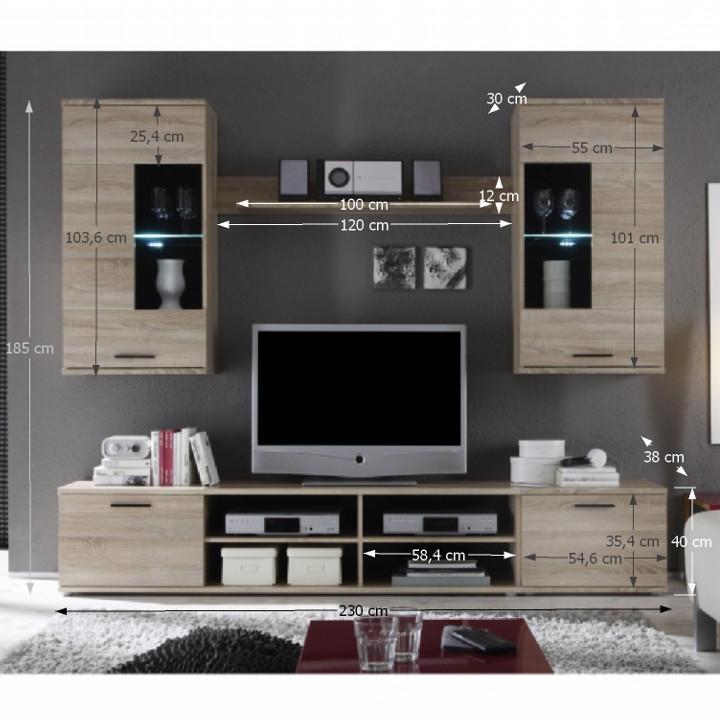 Obývacia stena, s osvetlením, dub sonoma/číre sklo, s rozmermi, FRONTAL 2