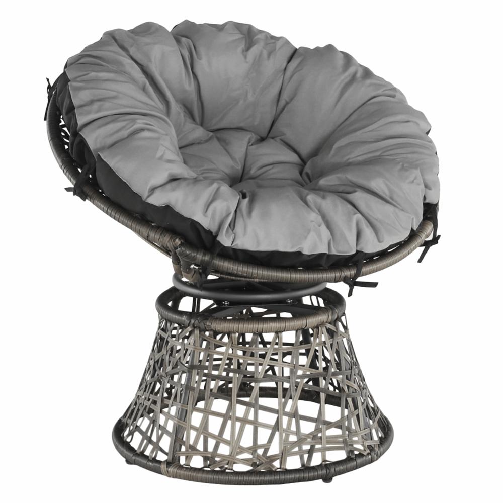 Fotoliu rotativ cu pernă, gri/negru/gri deschis, TRISS